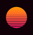retro sun in 80s style retrowave synthwave vector image