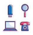 retro technology set gadgets vector image