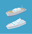 sailboat and passenger liner marine travel vessels vector image vector image