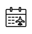 schedule plane icon isolated contour vector image vector image