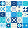 seamless blue tile pattern azulejos tiles vector image vector image