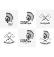 set american indian emblems labels badges vector image