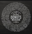 set of donuts cartoon doodle objects symbols and vector image