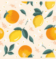 summer pattern with lemons oranges flowers and vector image vector image