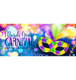 traditonal colors carnival mask on shining bokeh vector image vector image