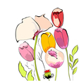 Tulips with poppy flowers vector | Price: 1 Credit (USD $1)