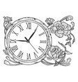 vintage clock with flowers sketch engraving vector image vector image