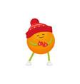 winter fruit orange in hat mittens vector image vector image