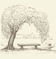 wooden bench under a willow tree lake vector image vector image
