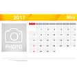 Year 2017 May month simple and clear design vector image vector image