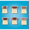 set of color icons with ancient columns vector image