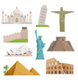 different historical famous landmarks world vector image