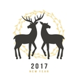 New Year 2017 greeting card with hand drawn deers vector image