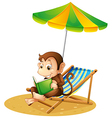 A monkey reading a book at the beach vector image vector image