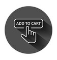 add to cart shop icon in flat style finger cursor vector image vector image