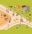 animal park isometric composition vector image vector image