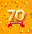 anniversary ceremony balloons 70 numbers vector image