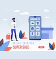 banner is written online shopping super sale vector image