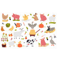 big set funny cute farm animals vector image