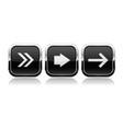 black button next set square shiny 3d icons vector image