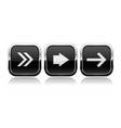 black button next set square shiny 3d icons with vector image