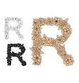 Brown vintage floral uppercase letter R vector image vector image