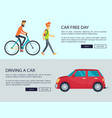 car free day and driving car vector image vector image