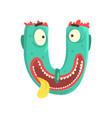 cartoon character monster letter u vector image vector image