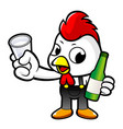 Cartoon rooster character holding a distilled