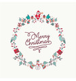 christmas hand drawn icon wreath holiday card vector image