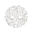 Christmas New Year Holiday Line Icons Set vector image vector image