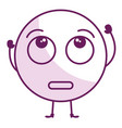 Confused face emoticon kawaii character vector image