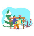 couple dating in winter park characters outside vector image vector image