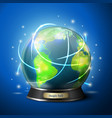 crystal ball with globe predict your travel vector image