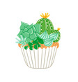 cupcake with creamy succulents vector image vector image
