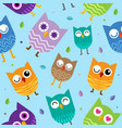 cute owl seamless pattern background design vector image