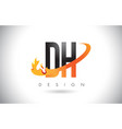 dh d h letter logo with fire flames design vector image vector image