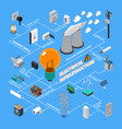 electrical infrastructure isometric flowchart vector image