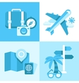 flat icon set travel symbols vector image