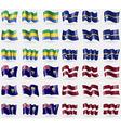 Gabon nauru Saint Helena Latvia Set of 36 flags of vector image vector image