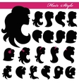 Girl face silhouette setProfiles Hair styleLogo vector image