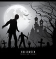 happy halloween zombies on moon and castle vector image