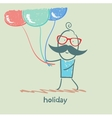 holiday at the person with balloons vector image vector image