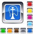 hookah square button vector image