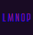 l m n o p red blue layered letters urban vector image vector image