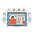 laptop computer identification system biometrical vector image vector image