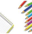 notebook and pencils vector image vector image