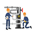 oilmen characters working on an oil pipeline oil vector image vector image