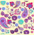 pattern of paisley leaves and flowers summer vector image vector image