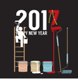 Person Constructing New Year 2017 vector image vector image